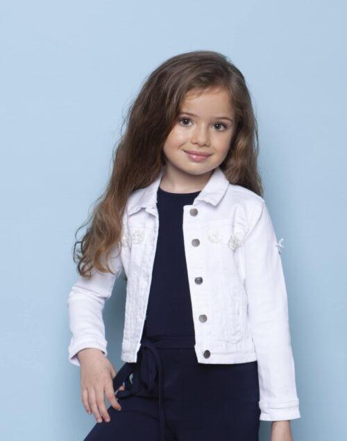 Jeansvest Le Chic meisje wit