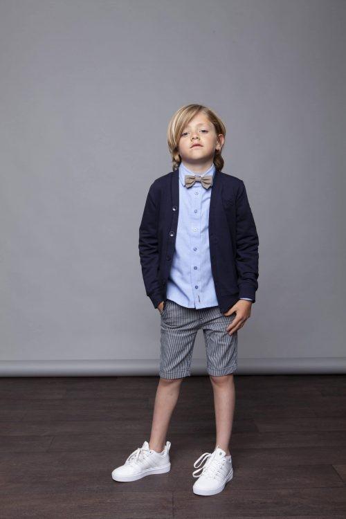 Overhemd Le Chic Garçon jongen blauw wit