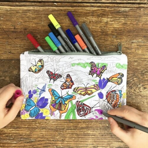 Herkleurbare pennenzak 'Vlinder' Eat Sleep Doodle