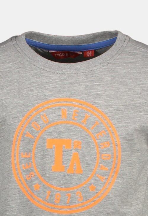 Tygo & Vito T-shirt 'Logo Print - Grey Melee'