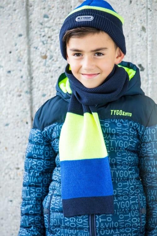 Set muts en sjaal Tygo en Vito jongen blauw geel