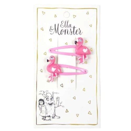 Set van 2 haarspeldjes 'Pink Flamingo'
